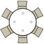 Advantage 4 ft. Round White Plastic Folding Table [ADV48R-WHITE] - White Granite