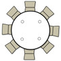 Advantage 66 in. Round Wood Folding Banquet Table [FTPW-66R] seats 8 adults