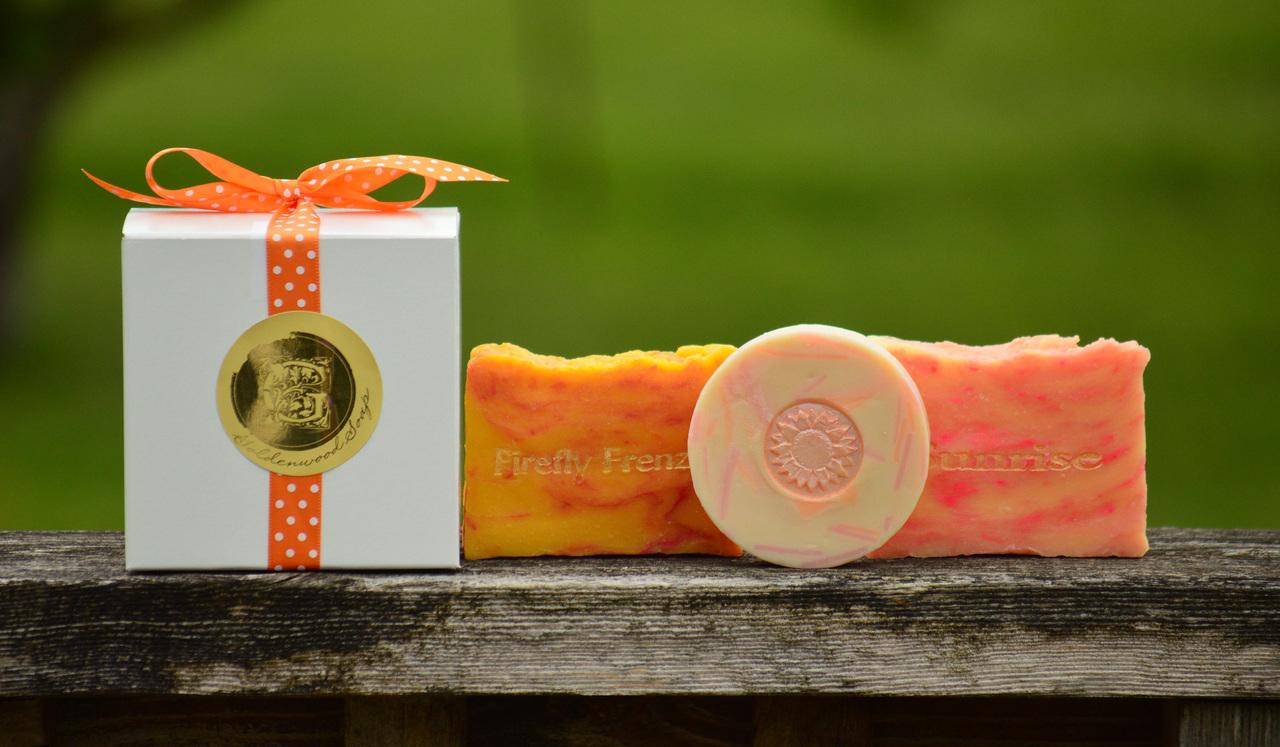 Pucker Up! Collection - Sunrise Goat Milk Soap Slice, Grapefruit Twist Classic Goat Milk Soap, Firefly Frenzy Goat Milk Soap Slice