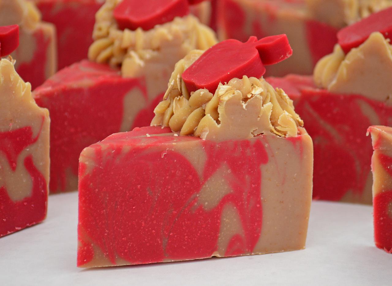 Apples & Oats - Goat Milk Soap Cake Slice - Avg weight 6.3oz per bar