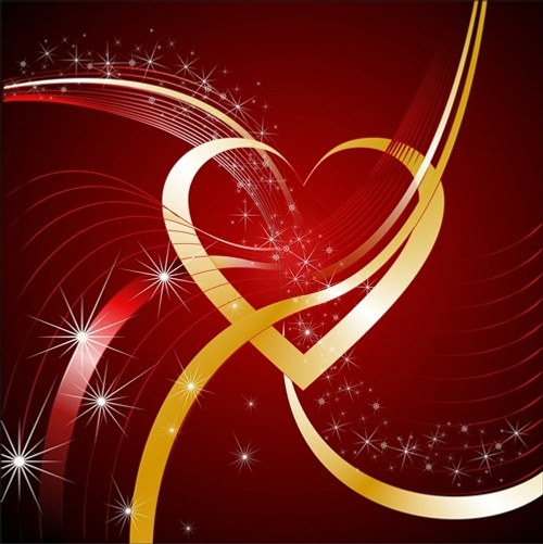 gold heart swirl valentine backdrop