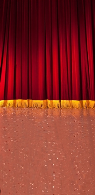 Stage With Red Curtain 3D Full Length Backdrop