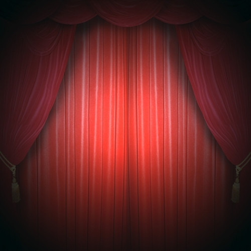 Red Curtain Stage Scenic Backdrop