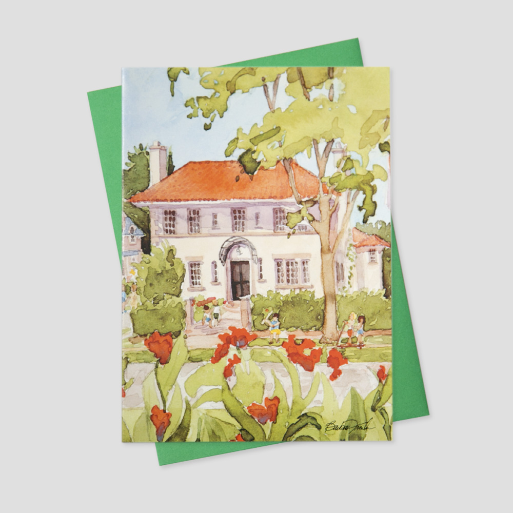Realtor greeting card featuring a watercolor image of a large home surrounded by red poppies