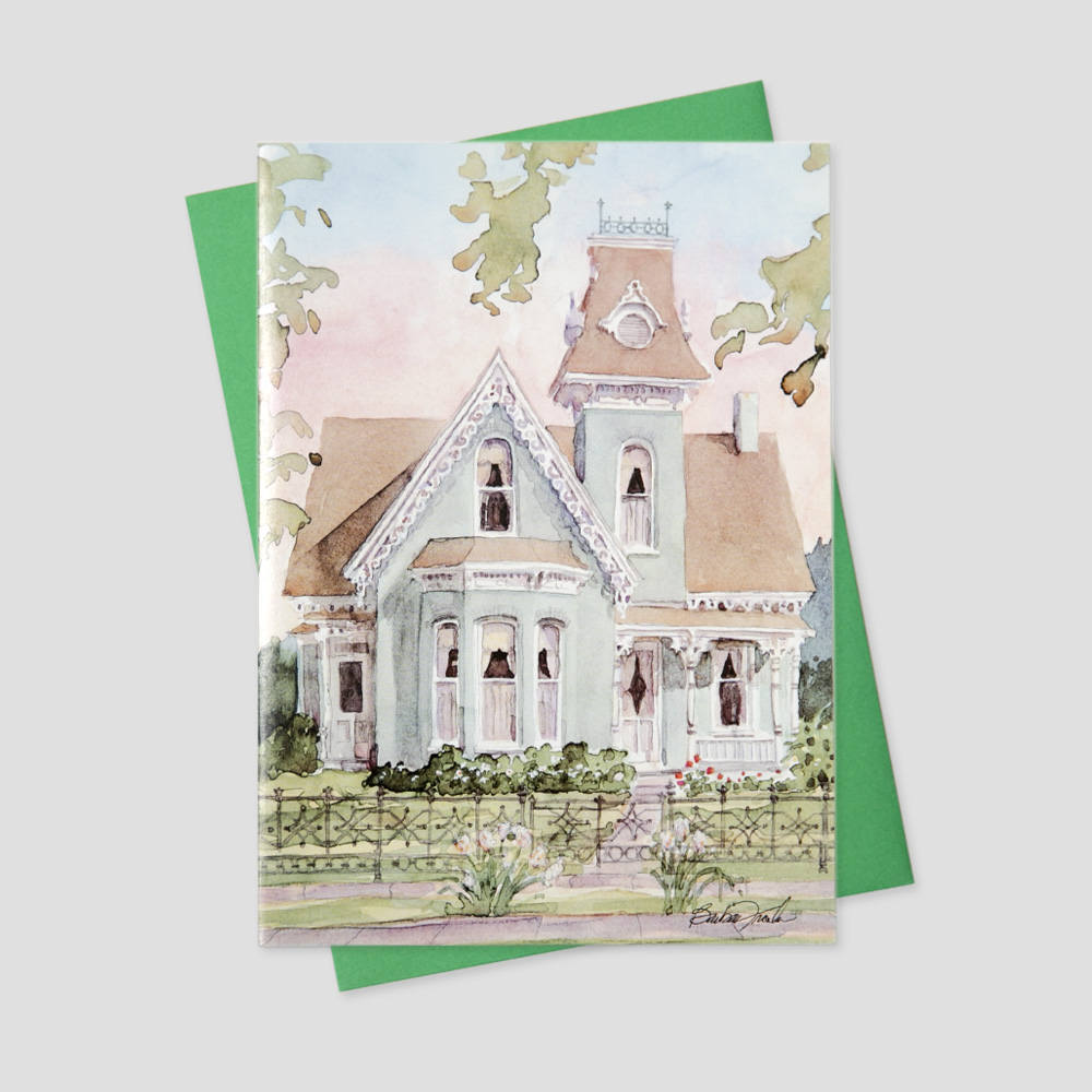 Client Realtor greeting card with a view of a grand Victorian style home in bright pastel colors