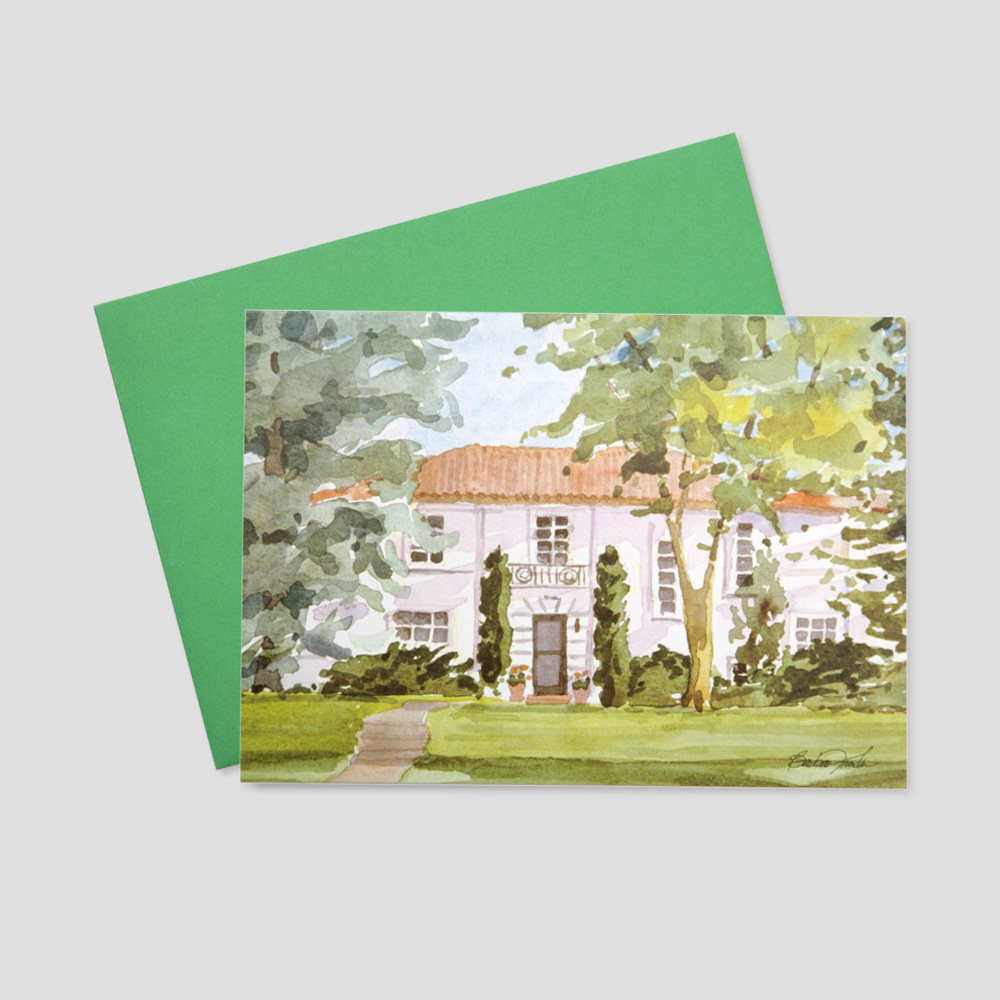 Corporate Mortgage Broker greeting card with a watercolor image of a large home set back on a large lawn with tall trees