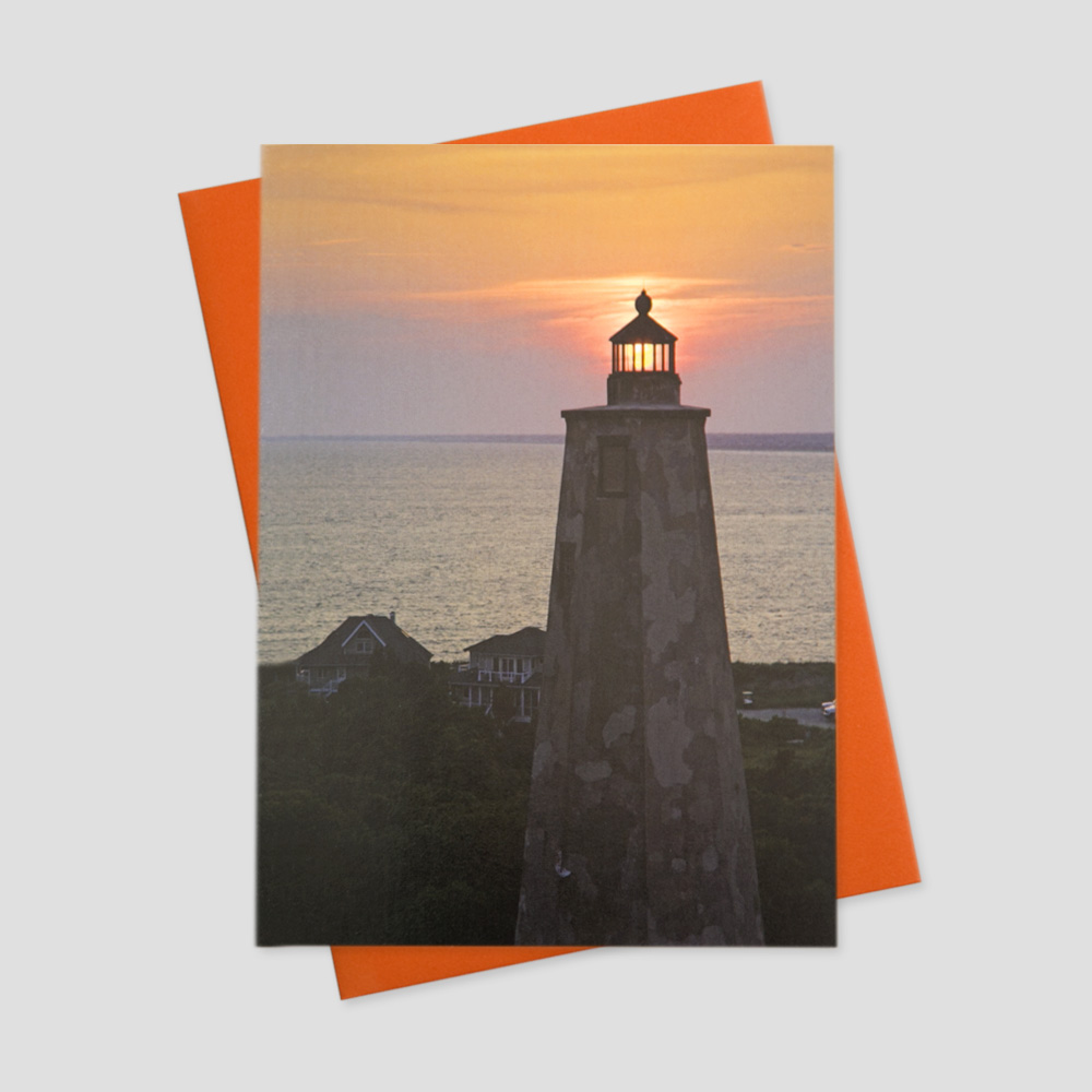 Employee Summertime greeting card with an image of the Old Baldy lighthouse at sunset