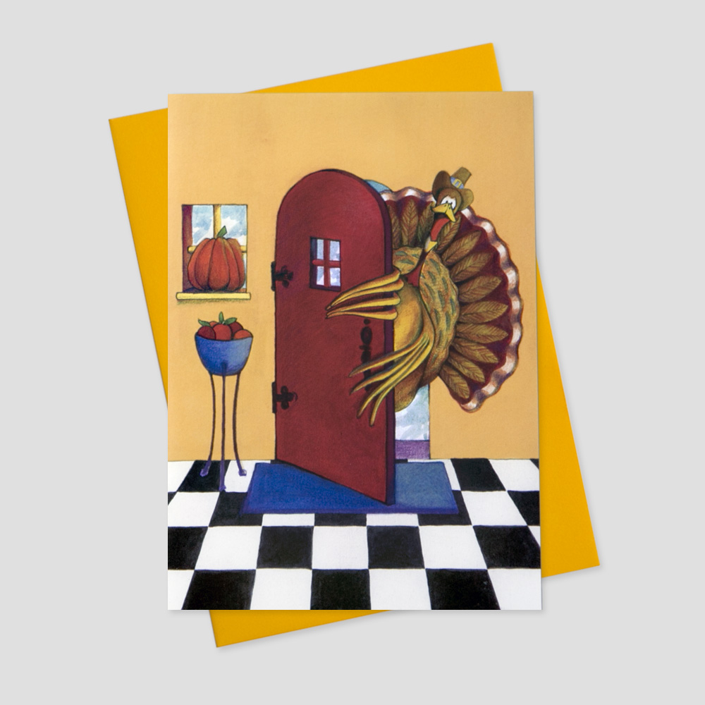 Humorous Thanksgiving greeting card featuring a watercolor image of a turkey walking into the front door of a home