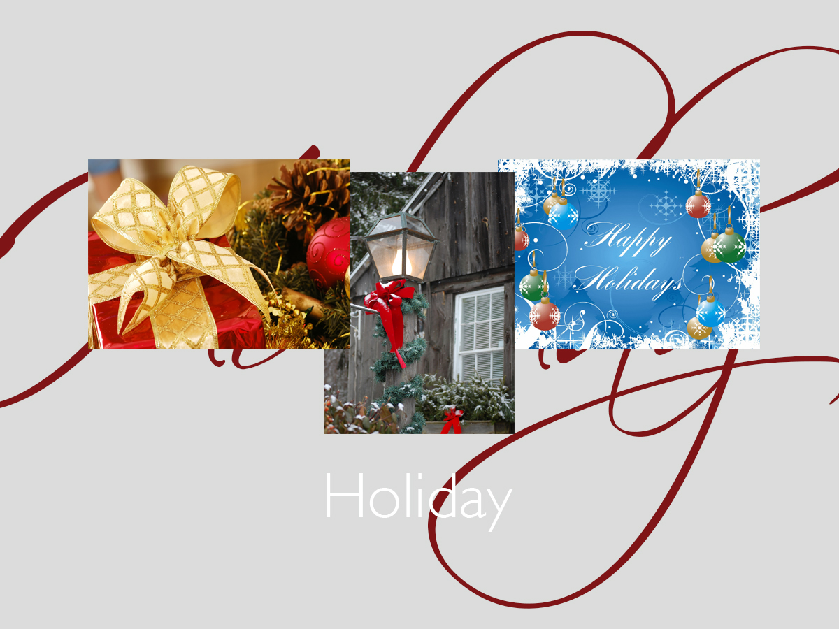 Holiday greeting card banner featuring three top-selling Holiday cards