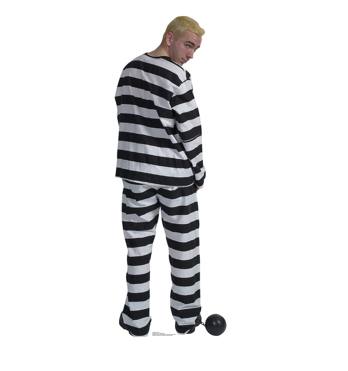 life size prisoner in striped suit with ball and chain cardboard