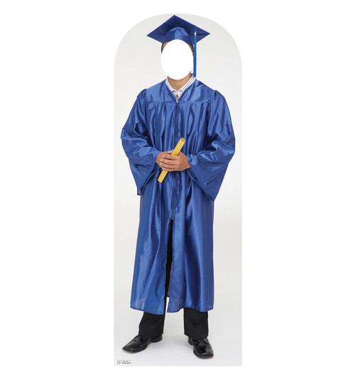 Life Size Male Graduate Blue Cap And Gown Cardboard