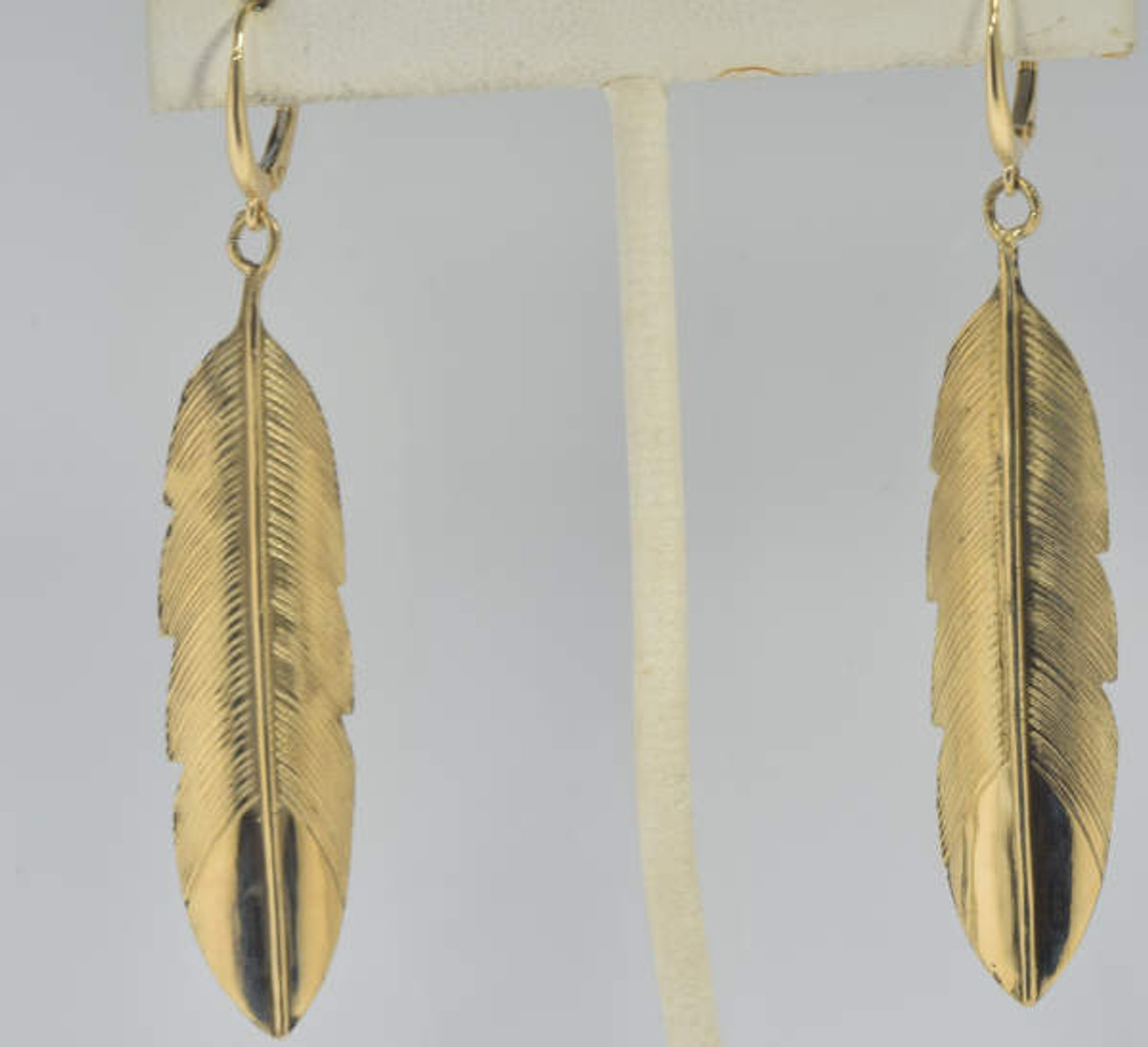 Gold Feather Drop Earrings