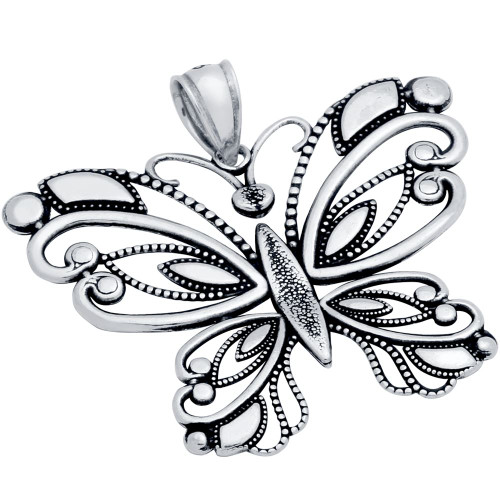 STERLING SILVER 36MM INTRICATE BUTTERFLY PENDANT