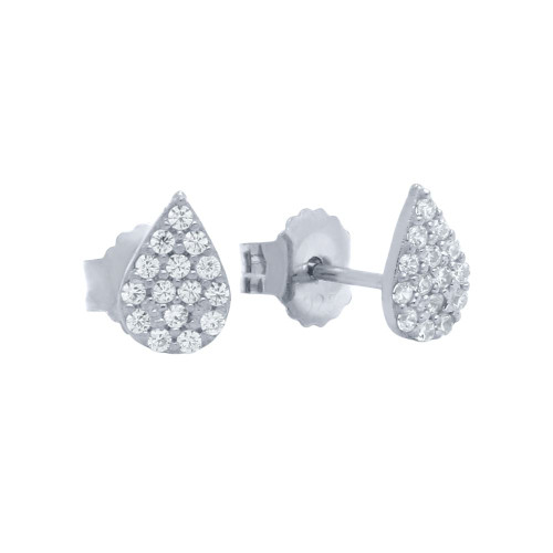 RHODIUM PLATED DROP SHAPED CZ PAVE POST EARRINGS