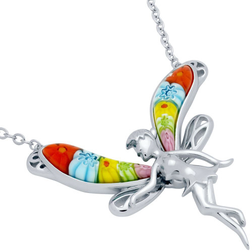 """Murano WINGED FAIRY NECKLACE 16"""" + 2"""""""