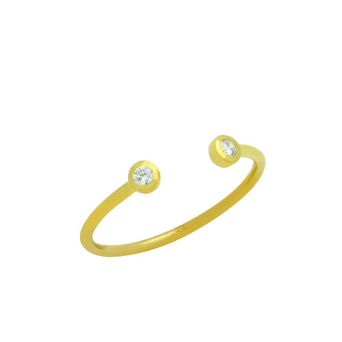 GOLD PLATED ADJUSTABLE STACKABLE DOUBLE 2MM CZ RING