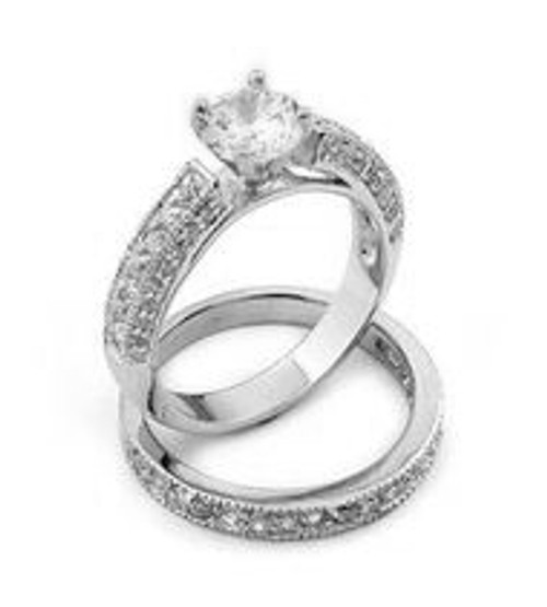 CZ WEDDING SET PAVE RINGS W/ 6MM RD CENTER STONE