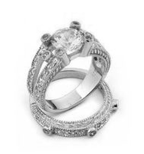 CZ WEDDING RINGS SET PAVE 8MM CENTER STONE