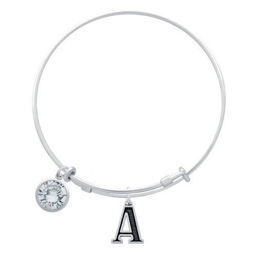 STERLING SILVER EXPANDABLE BANGLE WITH INITIAL AND CZ BIRTHSTONE CHARMS