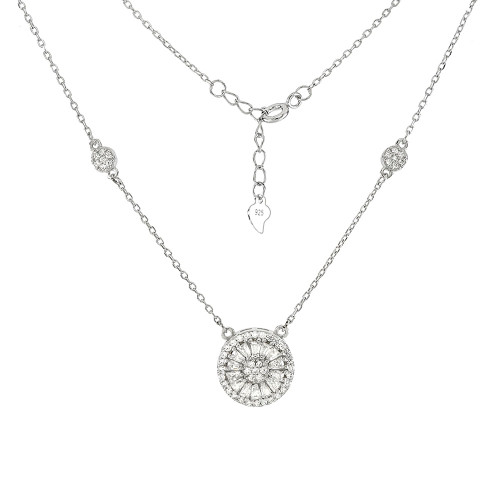 STERLING SILVER ROUND HALO CUBIC ZIRCONIA NECKLACE