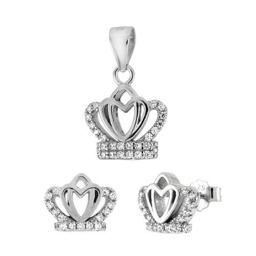 CZ CROWN EARRINGS AND PENDANT SET HEART SHAPED