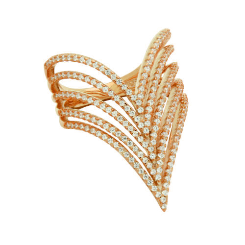 """ROSE GOLD PLATED 5-ROW CZ MICRO PAVE CHEVRON """"V"""" RING"""