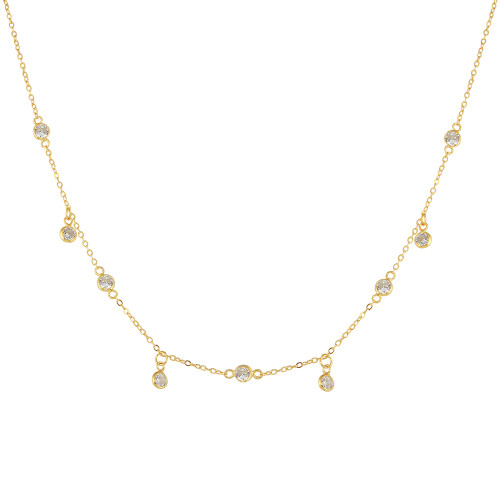 """ROSE GOLD PLATED 4MM BEZEL CZ BY THE YARD NECKLACE W/DANGLE CZ 16""""+2"""