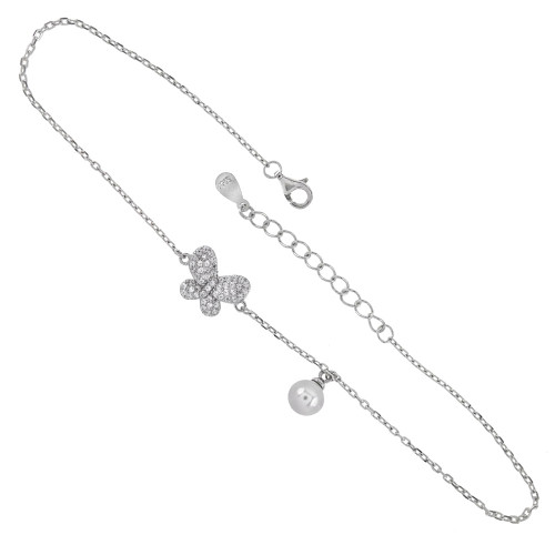 STERLING SILVER ROLO D/C CHAIN W. 6MM PEARL CZ BUTTERFLY RHODIUM ANKLET