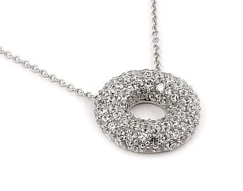 """CIRCLE OF LIFE PUFFED CZ ETERNITY PAVE NECKLACE 16""""+2 ADJUSTABLE"""
