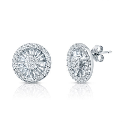 STERLING SILVER ROUND 110MM HALO CUBIC ZIRCONIA W/BAGUETTES EARRINGS