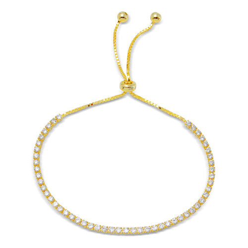 2MM STERLING SILVER GOLD PLATED ROUND CUT CUBIC ZIRCONIA ADJUSTABLE BRACELET