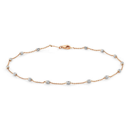 ROSE GOLD PLATED OVAL BEAD DIAMOND CUT BRACELET 7""