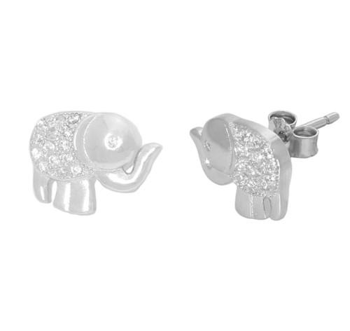 ELEPHANT SHAPED CZ STUD 110x83MM EARRINGS