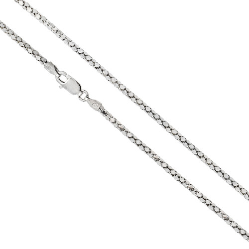 RHODIUM PLATED DIAMOND CUT 2.4MM COREANA ROUND CHAIN LOBSTER CLASP