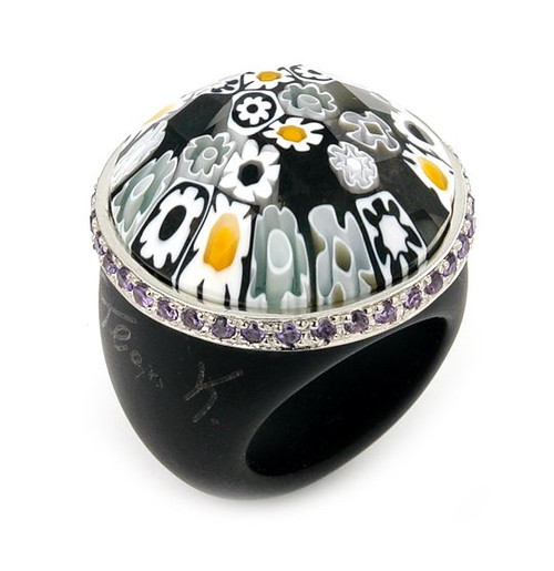 MURANO GRAND COLLECTION FACETED BLACK ROUND GLASS DOME RING WITH PURPLE CZS