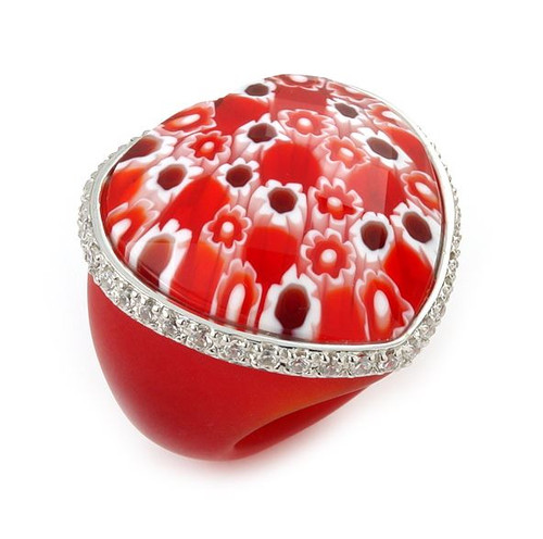 MURANO GRAND COLLECTION FACETED RED HEART GLASS DOME RING WITH CZS