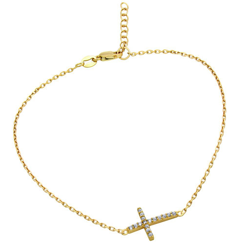"""GOLD PLATED CZ CROSS ANKLET 9"""" + 1"""""""