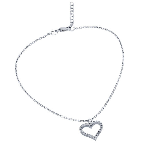 """RHODIUM PLATED CZ HEART ANKLET 9"""" + 1"""""""
