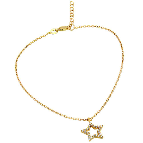 """GOLD PLATED CZ STAR ANKLET 9"""" + 1"""""""