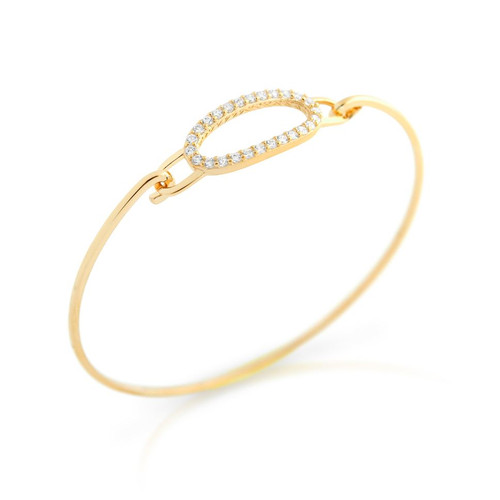 GOLD PLATED OVAL CUT OUT DESIGN BANGLE WITH ALL AROUND CLEAR CZ STONES