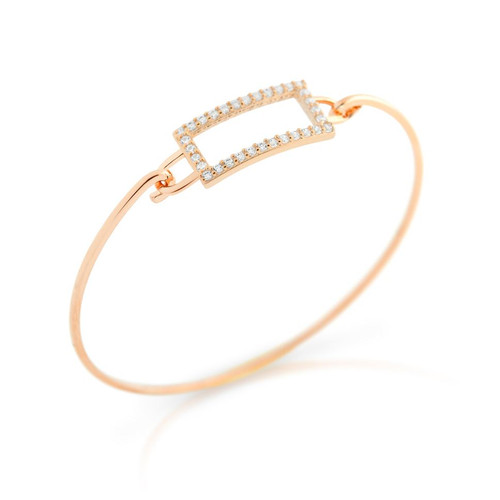 ROSE GOLD PLATED RECTANGLE CUT OUT DESIGN BANGLE WITH ALL AROUND CLEAR CZ STONES
