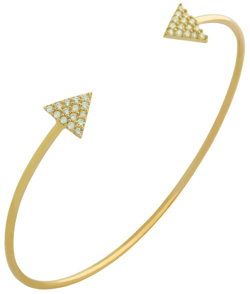 GOLD PLATED WIRE BANGLE WITH CZ TRANGLES
