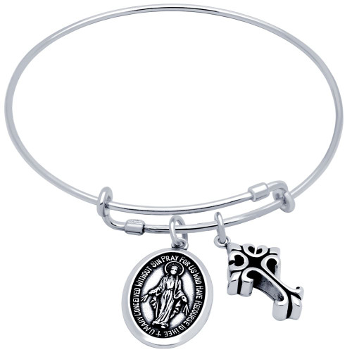 STERLING SILVER EXPANDABLE BANGLE WITH CROSS AND OVAL MARY CHARMS