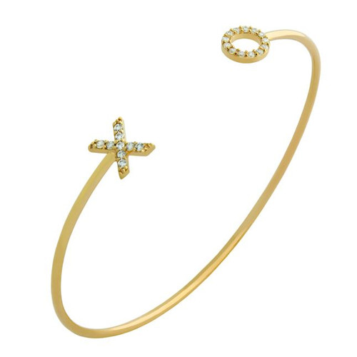 GOLD PLATED WIRE BANGLE WITH CZ XO