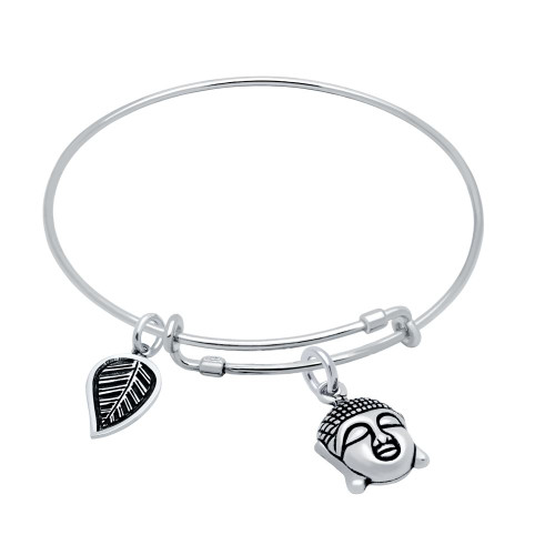 STERLING SILVER EXPANDABLE BANGLE WITH LEAF AND BUDDHA HEAD CHARMS