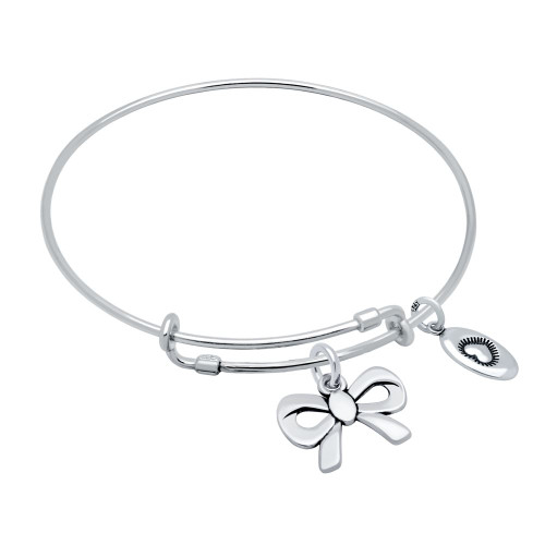 """STERLING SILVER EXPANDABLE BANGLE WITH """"LOVE"""" AND RIBBON BOW CHARMS"""