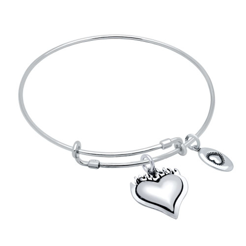 """STERLING SILVER EXPANDABLE BANGLE WITH """"LOVE"""" AND SACRED HEART CHARMS"""