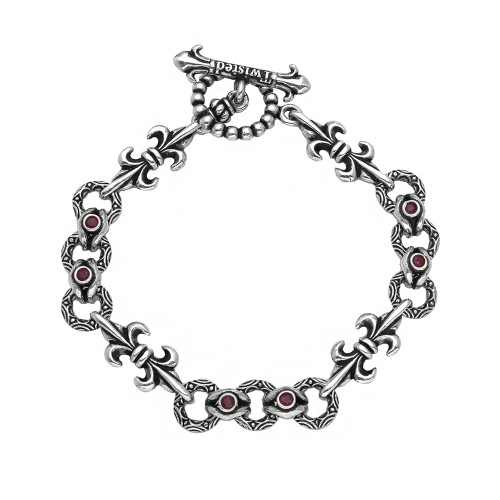 TWISTED BLADE SILVER FLEUR DE LIS AND RED CZ BRACELET