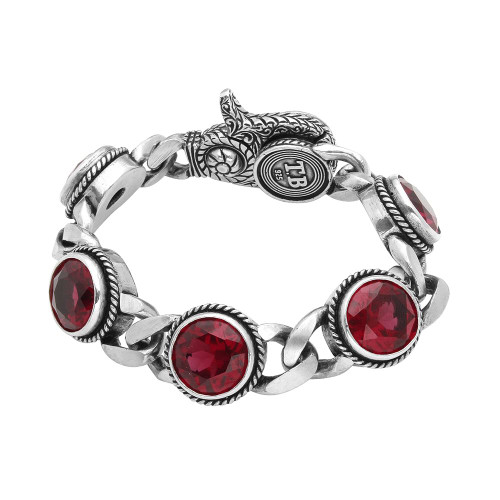 TWISTED BLADE SILVER LARGE RUBY-LINK BRACELET