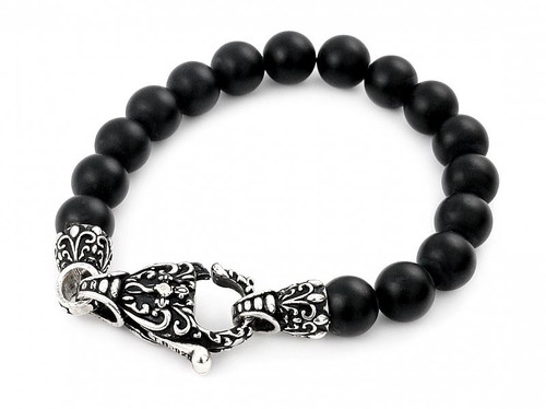 TWISTED BLADE INTRICATE BLACK AGATE BEAD BRACELET